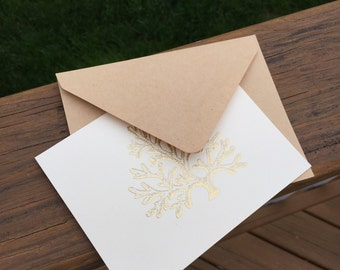 6 Gold Embossed Coral Notecards with Envelopes