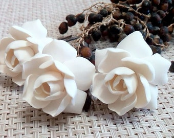 White gardenia hair flower - white Gardenia Hair Clip - gardenia Hair pin - white Bridal Hair Flowers - gardenia - Wedding Hair - set