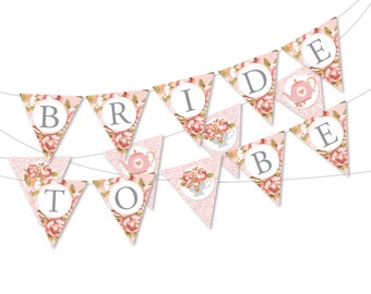 "Bridal Tea Party bunting/banner, ""Bride to be"" bunting, Bridal Shower Instant Download, Printable DIY, Teacup, Roses, Lace bunting"