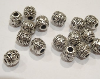 50 Antique Silver Spacer Beads 6mm - Ref BD47