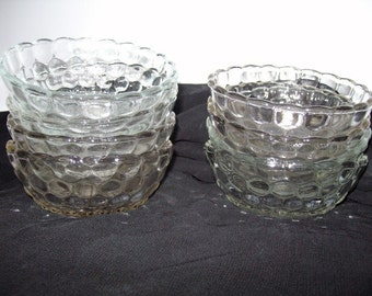 Dessert Bowls Eight Vintage Clear Glass Shipping Included