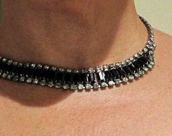 Vintage rhinestone and black choker, Art Deco rhinestone necklace, vintage black necklace, art deco black necklace vintage rhinestone choker