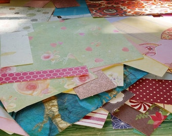 Paper scraps. Grab bag of over 20 craft paper bits and pieces.