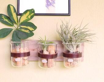 Rustic laboratory bud vase, test tube bud, vintage beaker, industrial flower vase, reclaimed wood vase, glass bud vase, leather bud vase