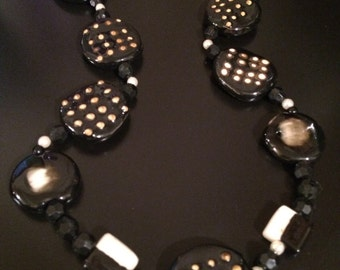 """black and white jewelry set, 2timothys16, Tribal jewelry set, tribal earrings, tribal necklace, tribal bracelet, """"Strong foundations""""."""