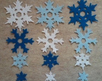 Die cut felt snowflakes set of 12