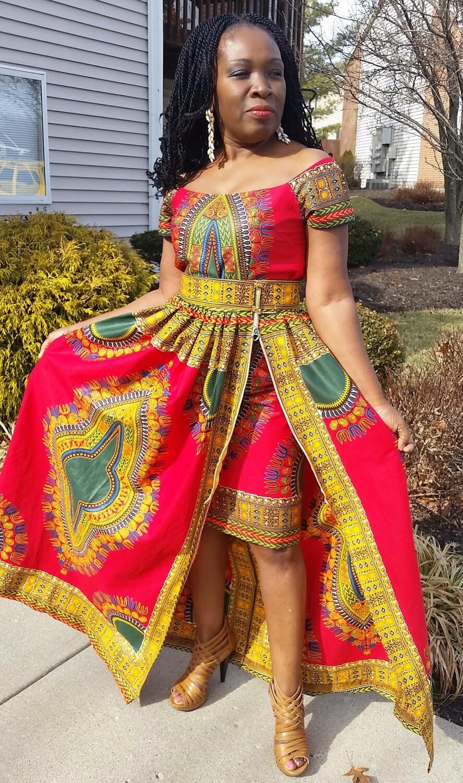 Dashiki skirt/Dashiki maxi skirt/African print skirt and