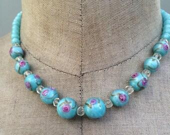 Vintage venetian wedding bead cake necklace