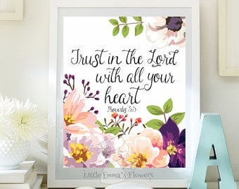 Scripture art Nursery decor Trust in the Lord print instant download Proverbs 3 5 Bible verse decor home decor nursery verse ID92-92a
