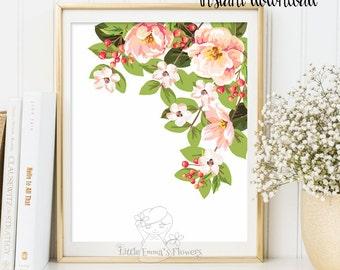Printable flower Decor Nursery wall art floral illustration nursery decoration nursery flower print garden flower instant download ID120-120