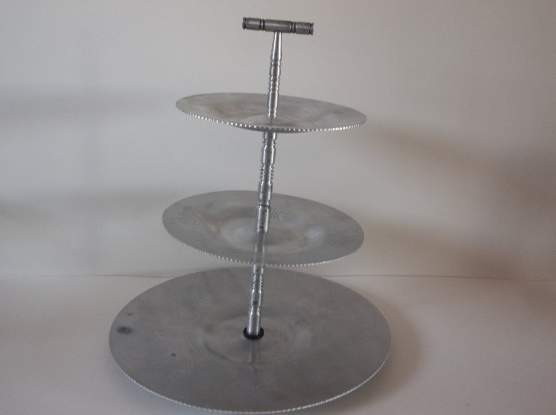 vintage aluminum three tier serving tray p ate. Black Bedroom Furniture Sets. Home Design Ideas