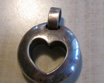 Sterling Silver Round Pendant with Cut Out Heart