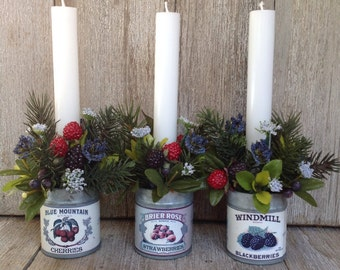 3 Berry Tin Candle Holders & Flowers