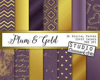 Plum and Gold Digital Paper - Wedding or Christmas Backgrounds in Deep Purple and Golden - Satin / Script / Paint / Hearts Instant Download
