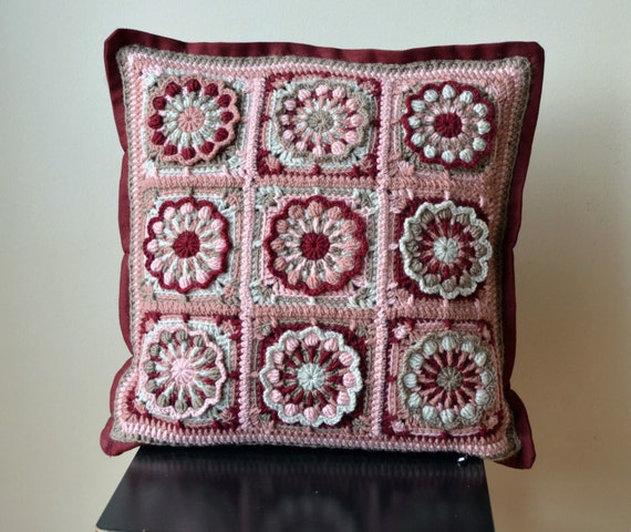 Crochet Pattern Granny Square Pillows : PDF Crochet Pillow Pattern overlay crochet by ...