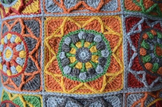 PATTERN Sunflower Crochet Pillow - Granny Square cushion - overlay crochet PD...