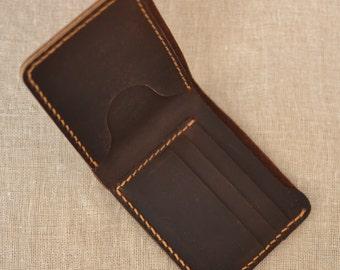 Handmade wallet Mens leather wallet Hand sewing Brown bifold wallet leather wallet Gift for men Billfold vintage wallet