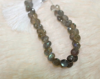 AAA Grade LABRADORITE Micro Faceted Onions Shape Briolettes, 8 Inch Strand, 7mm-8mm