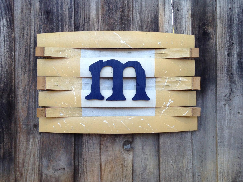 Wood Barrel Wall Decor : Wine barrel monogram wall hang reclaimed wood personalize