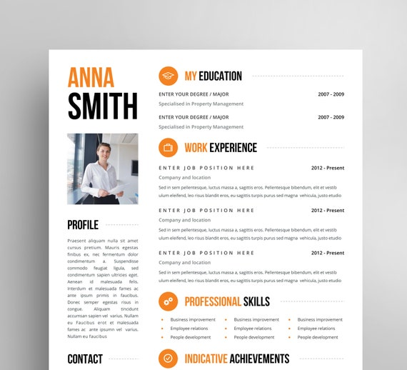resume template no 3 free cover letter instant download