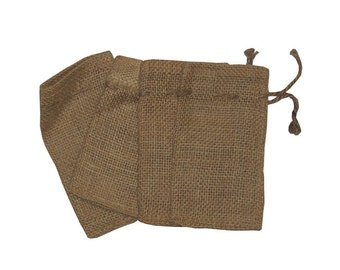 "Lot of 25 - Small Natural Rustic Burlap Bags with Natural Jute Drawstring for Showers   Weddings Parties Receptions - 3"" x 5"""