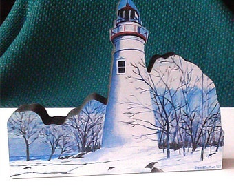 Marblehead Ohio Lighthouse in Winter woodblock collectible