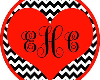 DIY Printable Valentine's Day Iron On Transfer - Personalized Valentine Shirt - Heart Monogram