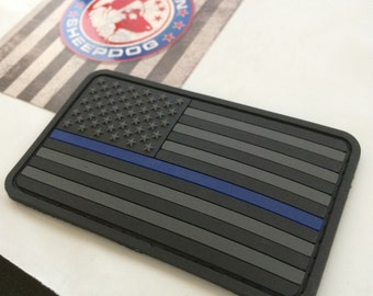 Stealth Thin Blue Line US Flag Patch