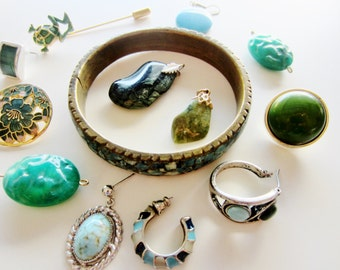 Harvest Shabby Chic Vintage Jewelry lot for Repair. Shades of blue and green 13 pieces (3002)