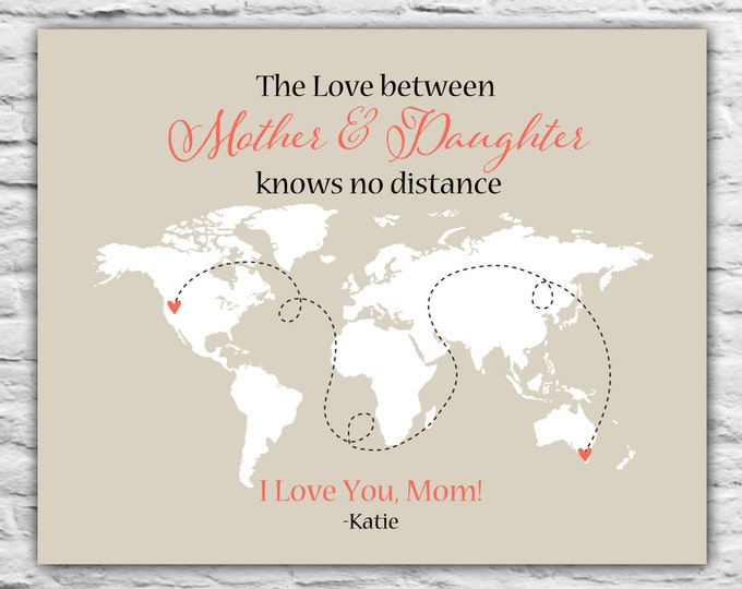 Mom Gift Idea for Christmas from Daughter, Grandma, Grandmother, Personalized Long Distance Gift, World Map, Unique Popular Print Art 8x10