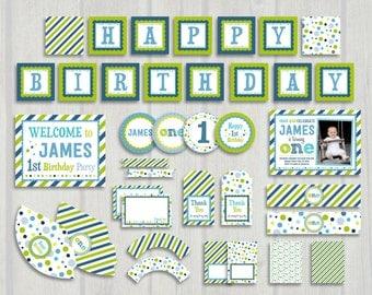 Blue and Green Birthday, Boy First Birthday Party Pack, First Birthday Invitation, Second Birthday, 1st Birthday Party
