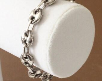 """Sterling Silver Chunky Link Bracelet 7 1/4"""""""