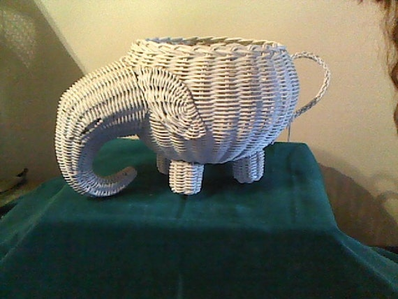 Vintage wicker planter rattan white by vintageshopandnew on etsy - Elephant hamper wicker ...