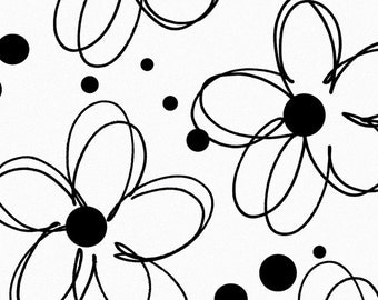 Flower Outlines sketched in Black w/ Black Polka dots on white Tissue Paper # 303  ... 10 Large Sheets
