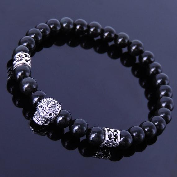black obsidian bracelet men women gemstone 925 sterling silver