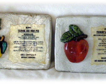 CLEARANCE . . Two Fruit & Recipe Plaques (Old World Style)