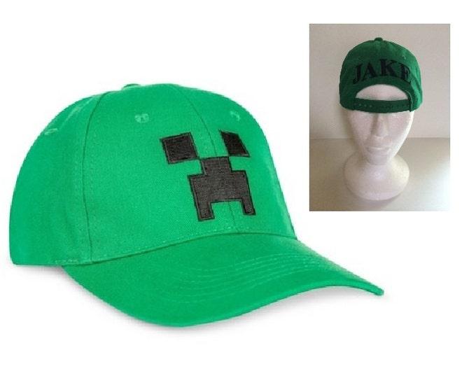 Boys' Green Minecraft Creeper Flex Baseball Hat Cap – Monogrammed Personalized