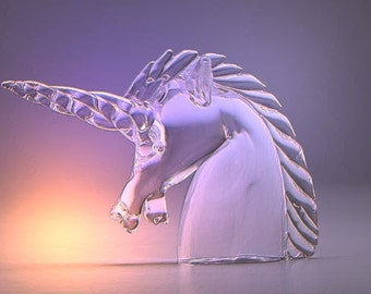SALE - French 20th C. Signed Paperweight: Cartier France Crystal Unicorn