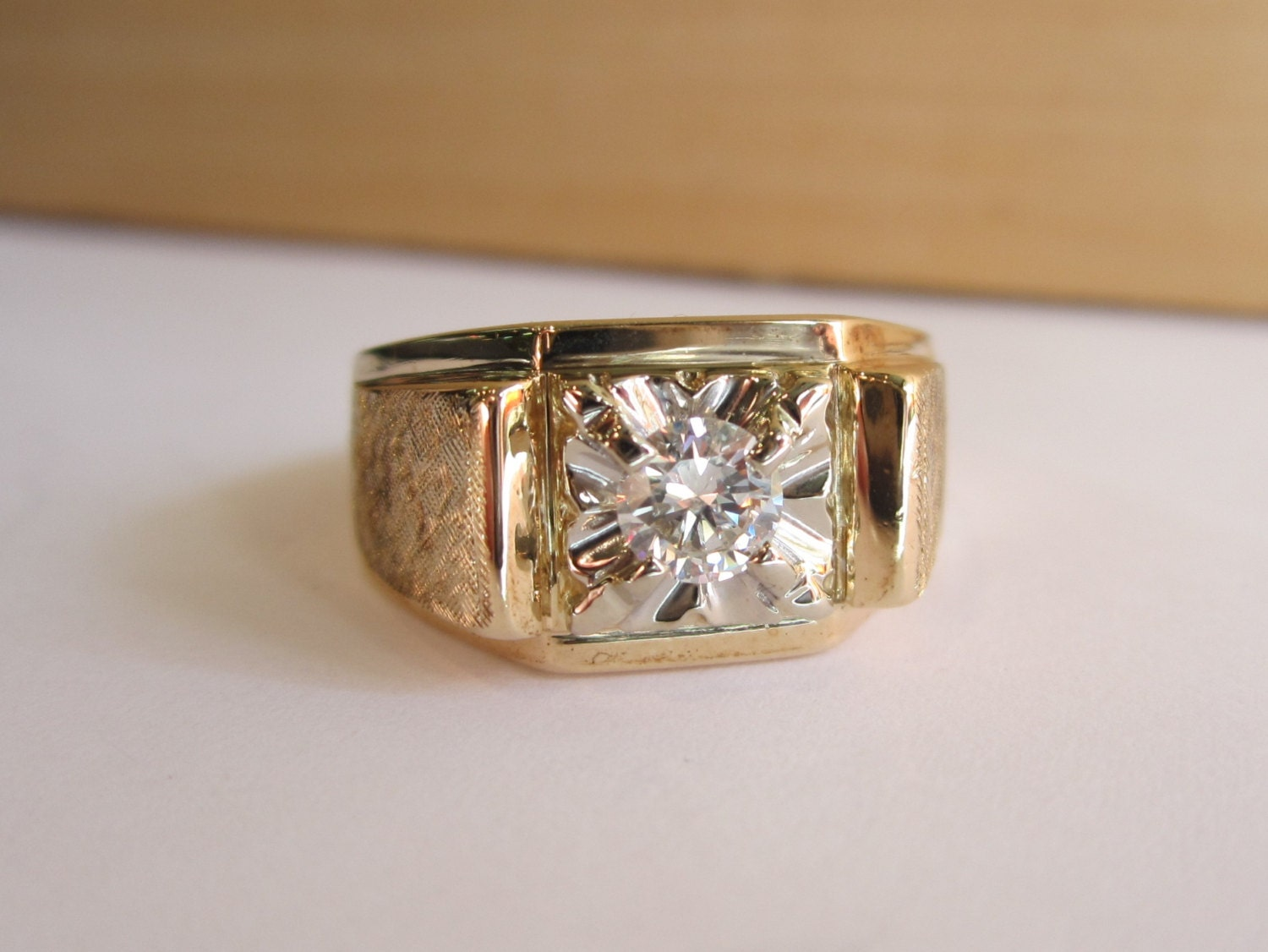 Mens Diamond Ring Vintage Diamond 10 14k Gold Ring Mens