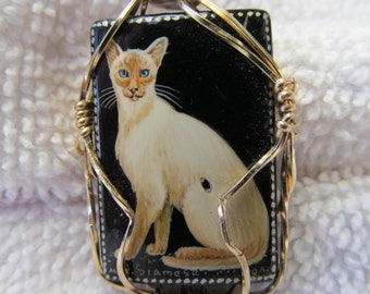 Cat pendant wire wrappe in 12k gold filed wire