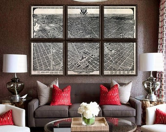 """Map of Washington DC 1922, Washington DC map, 5 sizes up to 72x48"""" (180x120 cm) in 1 or 6 parts, panoramic map - Limited Edition of 100"""