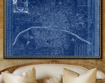 """Paris map 1792, Map of revolutionary Paris up to 72x48"""" 180x120 cm large map of Paris, France, in 1 or 6 parts - Limited Edition of 100"""