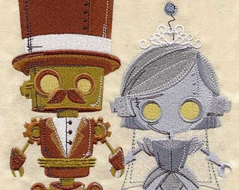 Steampunk Robot Bride and Groom Couple Wedding Towel Embroidered Flour Sack Hand/Dish Towel