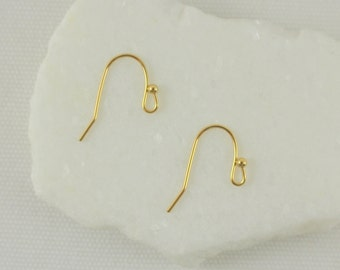 Gold Earwire Jewelry Findings – Simple & Classic Design – Pkg of 4 Pairs
