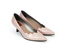 Womens Leather Shoes Grace Kelly Light Blush Pink Pumps Low Kitten Heels Pointy Toe Elegant Fashion Size 6 7 8 9 10 11 35 36 37 38 39 40 41