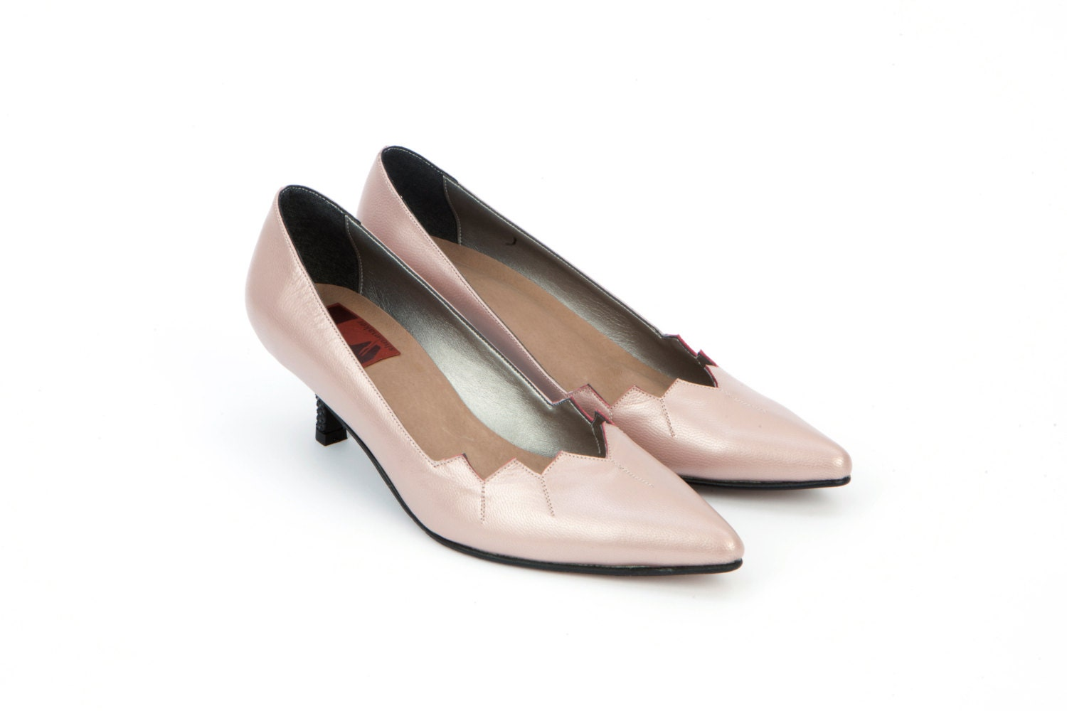 Womens Leather Shoes Grace Kelly Light Blush Pink Pumps Low