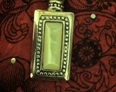 Vintage Premier Design Silver Pendant Square with Faux Mother of Pearl Stone