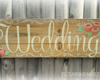 Rustic Barnwood Wedding Sign, Handmade Wedding