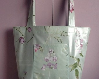 Oilcloth tote bag with umbrella pocket /shopping bag