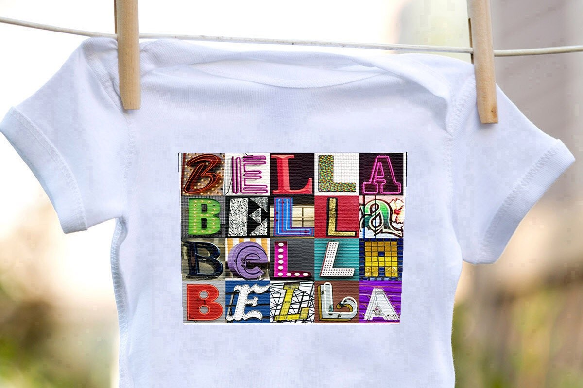 Personalized baby bodysuit featuring the name bella showcased in personalized baby bodysuit featuring the name bella showcased in photos of letters from actual signs negle Gallery